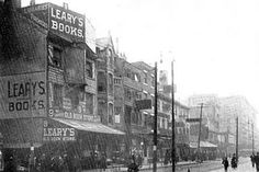 """Leary's Old Book Store in Philadelphia, c. 1910. Leary's heyday was during the """"Golden Age of Books,""""  during the 19th century and the first half of the 20th when books were the key source of entertainment and enlightenment. When it was sold at auction in 1969 it was the oldest used book store in the U.S. Getting ready for the sale, a copy of the Dunlap first printing of the Declaration of Independence was discovered forgotten and neglected. It fetched over $400,000.00."""