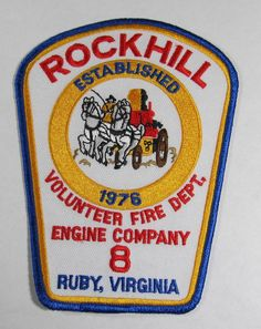Rockhill Volunteer Fire Dept. Engine Company 8 Ruby, Virginia Patch in U.S. | eBay