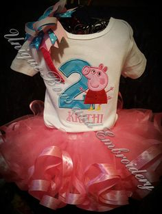 Check out this item in my Etsy shop https://www.etsy.com/listing/265052769/peppa-pig-inspired-birthday-tutu-set