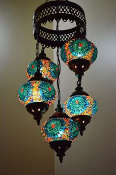 Turkish Handmade 5 Blue Globes Moroccan Mosaic Hanging Lamp Lantern Light by DeeDeeBean Turkish Lamps, Moroccan Lamp, Turkish Lanterns, Moroccan Style, Flur Design, Handmade Home Decor, Bohemian Decor, Globes, Crafts