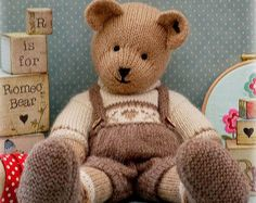 ROMEO Bear / Teddy Bear Toy Knitting Pattern/ PDF/ Plus Free Handmade Shoes Knit. Teddy Bear Knitting Pattern, Knitted Teddy Bear, Teddy Bear Toys, Baby Knitting, Knitting Patterns, Bear Patterns, Knitting Needles, Teddy Bears, Free Knitting