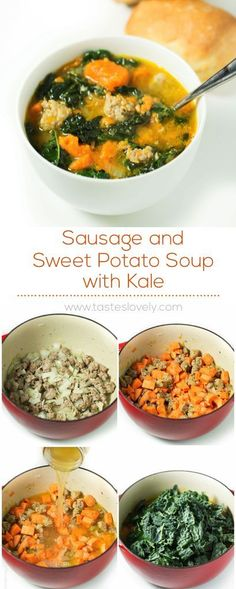 Substitute Sausage with ground turkey) and Sweet Potato Soup with Kale (paleo, gluten free, dairy free, Whole30)