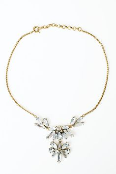 """This bracelet features classic crystal gemstones in mixed cuts of baguettes, marquise, square and circle all set in antique brass with a delicate antique brass box chain.    Dimensions:18"""" L   Hepburn Marquise Necklace by Two Penny Blue. Accessories - Jewelry - Necklaces Illinois"""