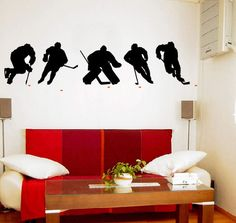This beautiful ICE HOCKEY PLAYERS decal comes in 2-pieces for easy install. Just peel and stick.  Size: 60 in. wide x 14 in. high Color: Choose 2 colors