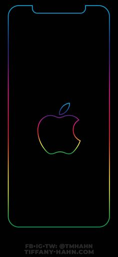 Updated Nice Solid Wallpaper IPhone Black iPhone XS Max Wallpaper - Rainbow Outline - Apple - Lock Screen - in 2020