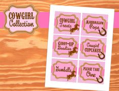 AZ COWGIRL - FOOD Labels - Girl Birthday Party - Pink Horse Party, Cowboy - Western - Ranch -  Krown Kreations