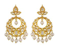 kundan pearls hanging earrings made in fine silver base ,to give you an antique look