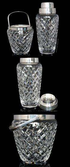 BUY on ETSY: Vintage Cocktail Shaker & Ice Bucket Set, Crystal Cut Glass Martini Shaker, Ice Holder / Mid Century Barware, Bar Tools, Bar Cart