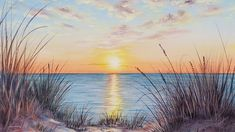 Beach Sunset Painting, Beach Watercolor, Seascape Paintings, Acrilic Paintings, Beach Paintings, Landscape Paintings, Acrylic Painting Tutorials, Acrylic Art, Diy Painting