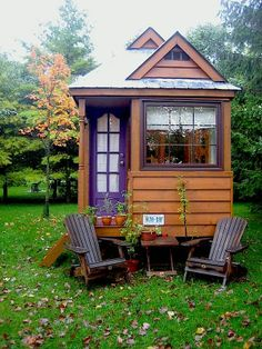 Luscious Tiny House- I want a grownup play house just like this , just for me.