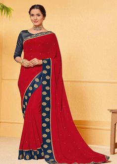 Hot Red Color Chiffon Party Wear Saree Product Details : Saree color is red. Fabric of this designer saree is chiffon. Comes along with raw silk unstitched blouse. Saree has lace border. Ideal for wedding function, party function, festivals or fami Celebrity Gowns, Red Saree, Latest Sarees, Art Silk Sarees, Chiffon Saree, Party Wear Sarees, Blue Lace, Navy Blue, Party Fashion