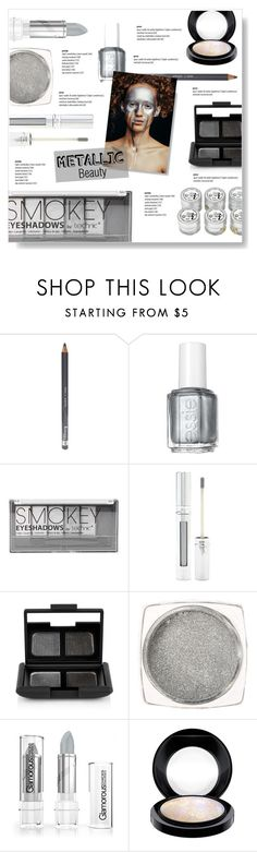 """""""#metallicmakeup"""" by brccz ❤ liked on Polyvore featuring beauty, Rimmel, Essie, Boohoo, Forever 21, NARS Cosmetics and MAC Cosmetics"""