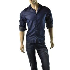 Guess Shirt Mens Dillon Emmit Navy Blue Button Up Shirts Size S Slim Fit NEW $89 #Guess #ButtonFront