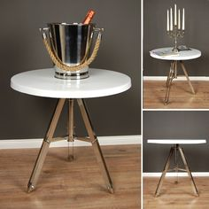 Design Beistelltisch NEW YORK Couchtisch Hochglanz Weiss Wohnzimmer Tisch
