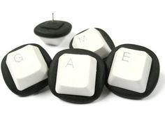 Decorative Push Pins - Repurposed Computer Keyboard Keys - Gamer - Set of 5. $6.00, via Etsy.