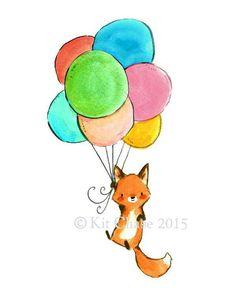 Nursery Art Bear Balloon Art Print by trafalgarssquare on Etsy Animal Drawings, Cute Drawings, Stickers Kawaii, Fox Drawing, Printed Balloons, Colourful Balloons, Fox Art, Cute Fox, Cute Illustration