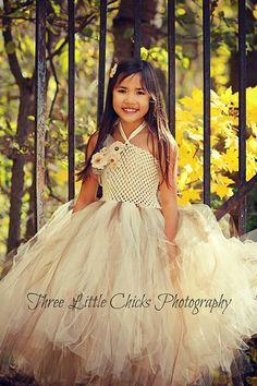 Burlap & Lace Couture Flower Girl Tutu Dress/ door princesstutus2010, $50.00