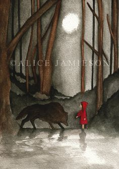 Original Little Red Riding Hood Inspired Nursery Fairytale Illustration
