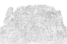 Pencil-drawing. Lukisan kompleks suatu kerajaan yang diserang monster-monster.