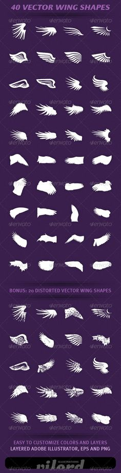 40 Wing Shapes Vol.2 - http://graphicriver.net/item/40-wing-shapes-vol2/2354737?ref=cruzine
