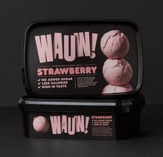 The talented guys from Snask (one of our favorite Scandinavian studios) have just created their own brand of ice cream with a punchy name and packaging. Ice Cream Packaging, Black Packaging, Cool Packaging, Product Packaging, Ice Cream Brands, Eating Ice Cream, Branding, Packaging Design Inspiration, Typography Inspiration