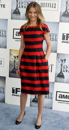 Cameron Diaz, Red/Black Dress at Independent Spirit Awards 2011