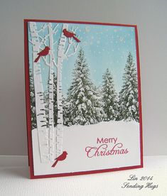 All is Calm: Mark's Finest Papers , Impression Obsession birch tree and cardinals dies, SSS Falling Snow stencil, Sending Hugs