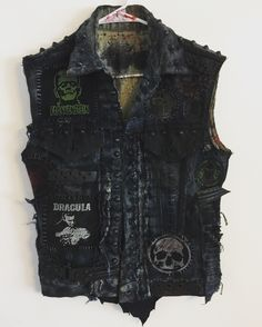 Distressed vest from Chad Cherry Clothing. Punk Rock vest. Heavy Metal vest. Studded vest. Embroidery patch vest.