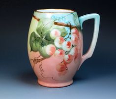 Antique Hand Painted Rosenthal Mug with Grapes by DejaVuPorcelain