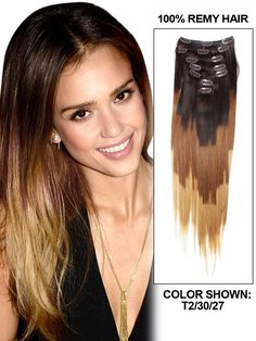 Three Tones Ombre Clip In Hair Extensions #Straight #Sexy #hairstyle colors and lengths can be customized