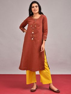 Buy Orange Hand-embroidered Mangalgiri Cotton Kurta Online at Jaypore.com Shopping Coupons, Pin Tucks, Embroidered Silk, Summer Sale, Cotton Linen, Rust, Cold Shoulder Dress, Sequins, Photoshop