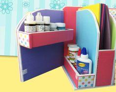 DIY: Beautiful Desk Organizer from Cardboard - Art & Craft Ideas Diy Crafts For Girls, Diy Arts And Crafts, Diy Craft Projects, Craft Ideas, Desk Organization Diy, Diy Desk, Diy Storage, Cardboard Organizer, Cardboard Crafts