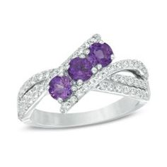 Zales Oval Amethyst and Lab-Created White Sapphire Three Stone Ring in Sterling Silver kMG4EeTg