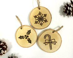 Rustic Christmas birch tree slice ornament by ScreechOwlSupply