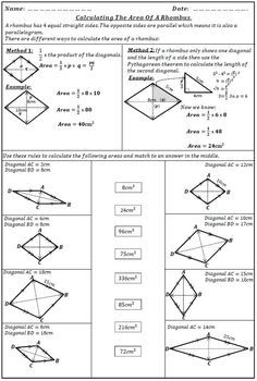 The Area Of A Rhombus Pythagorean Theorem Activity Rhombus