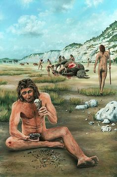 Richard Bizley - The scene takes place 500,000 years ago in what is now Boxgrove, near Chichester in Sussex. Homo heidelbergensis is creating a flint axe after the group has successfully hunted a rhinoceros. He is using a deer antler to finish knapping the axe. In the distance is a herd of straight-tusked elephants and some heidelbergensis are throwing stones at a pack of hyenas. The group is quickly butchering the rhinoceros as there are lions in the area.