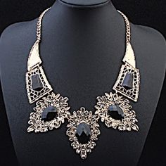 Black Gem Hollow Statement Necklace Beautiful and new! Jewelry Necklaces