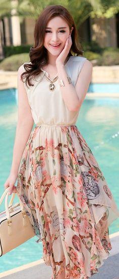 Sleeveless Chiffon Maxi Dress with Printed Skirt YRB0695 #whitedress #printeddress