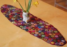 felted wool table runner by karenthurmandesign on etsy