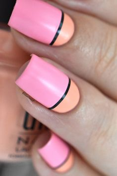 ÜNT La Dolce Vita color block nails +  giveaway