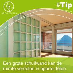 #TIP Een grote schuifwand kan twee ruimtes opdelen of met elkaar verbinden. Zo ben je flexibel in het gebruik van de ruimtes.