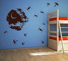 Star Wars Discover Star Wars Wall Decals Death Star wall decals X-Wing Fighter wall decals space ships Sticker Decal for Boys Room Wall Decal Sticker Death Star Star Wars by ArtWallStickers Nursery Wall Stickers, Kids Wall Decals, Wall Decal Sticker, Star Wars Nursery, Star Wars Bedroom, Nursery Boy, Nursery Decor, X Wing Fighter, Star Wars Kindergarten