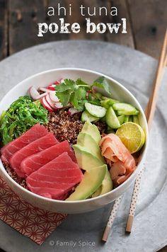 Ahi Poke Bowl with Quinoa by FamilySpice.com