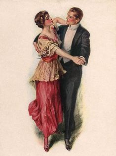 Ragtime Era Dance Attire- the woman's dress looks to be late 1914 or early 1915.  After the spring of 1915, skirts became very, very full and flared out from a slightly raised waistline.  This dress is a transitional style.