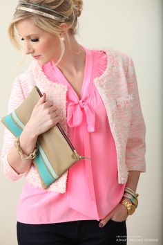 Lilly Pulitzer Dahlia Top in Sparkle Pink and Lia Jacket on Ashley Brooke