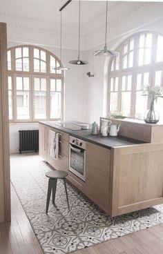Home Decorating Ideas tile kitchen floor tile color tile pattern gray wood kitchen Küchen Design, House Design, Interior Design, Design Ideas, Floor Design, Design Inspiration, Kitchen Interior, New Kitchen, Kitchen Wood