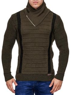 K&D Men Stylish 2 Line Mock Neck Zipper Sweater - Green