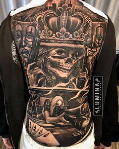 Chicano Tattoos Sleeve, Backpiece Tattoo, Forarm Tattoos, Leg Tattoos, Body Art Tattoos, Chicanas Tattoo, Skull Girl Tattoo, Tattoos Skull, Inca Tattoo