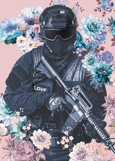 Love Soldier (Purple edition) Special Forces Gear, Military Special Forces, Anime Military, Military Art, Anime Character Drawing, Character Art, Aesthetic Art, Aesthetic Anime, Military Drawings
