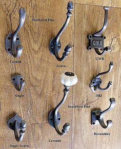 Antique Vintage Style Cast Iron Coat Hooks -Coice Of Design & Size x 1 Hook